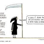 CHARGE DE P. BATISTA SOBRE O EFEITO DA COVID – 19 NO DESCASO DE BOLSONARO